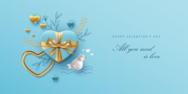 Walentynki transparent z realistycznymi przedmiotami i ręcznie rysowanymi elementami szkicu