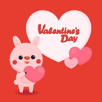 Walentynki transparent z słodkim misiem na pastelowym tle.