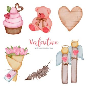 Walentynki ustawiają elementy, serce, babeczkę; teddy itp.