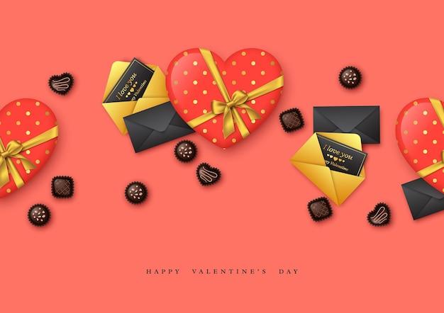 Walentynki wakacje. 3d serce ze złotą kokardką i czekoladowymi słodyczami, pocztówki z pozdrowieniami.
