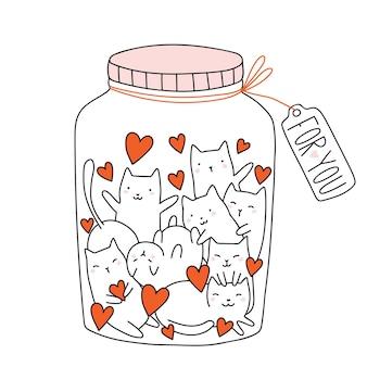 Walentynki wektor ręcznie rysowane doodle słoik z kotami i sercami słodkie koty w szklanej butelce
