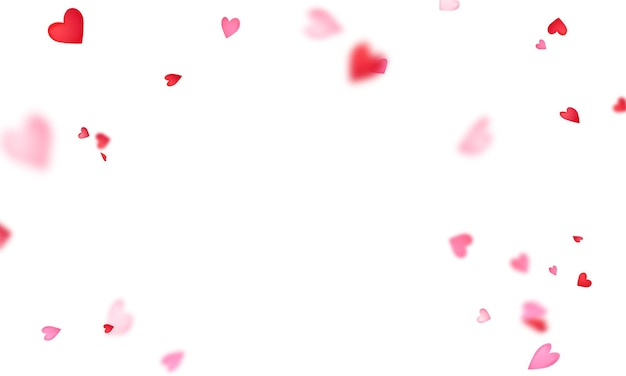 Walentynki, wstążki w kształcie konfetti serca.