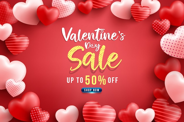 Walentynki wyprzedaż 50% zniżki plakat lub baner z wieloma słodkimi sercami i na czerwono. szablon promocji i zakupów lub na miłość i walentynki