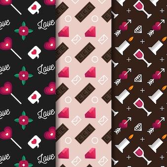 Walentynki wzór kolekcji styl płaskiej konstrukcji