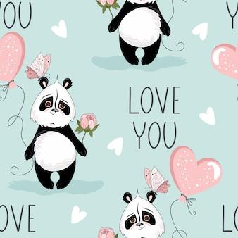 Walentynki wzór. romantyczna panda z elementami świątecznymi.