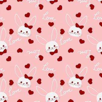 Walentynki wzór z para słodkie króliki.