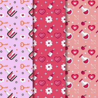 Walentynki wzór zestaw styl płaskiej konstrukcji