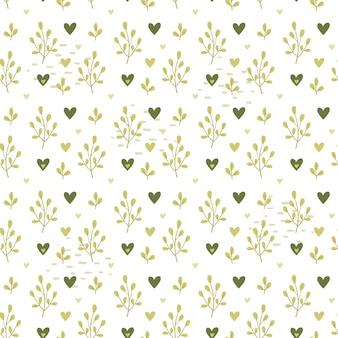 Walentynki wzór zielone serca i liście.