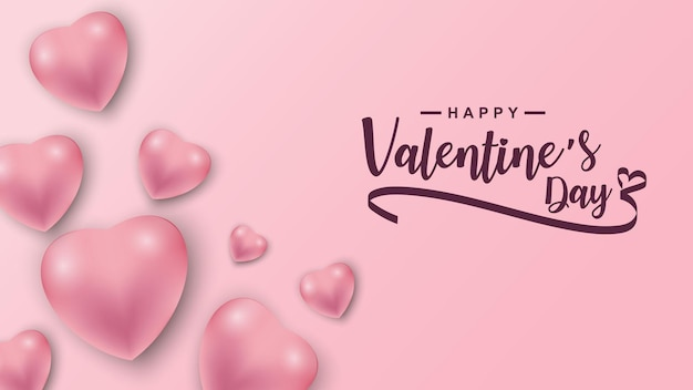 Walentynki wzorkiem ikona serca. valentine serca na różowo unoszące się z życzeniami szczęśliwych walentynek.