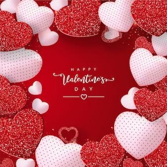 Walentynki z efektem brokatu czerwone serca na czerwono