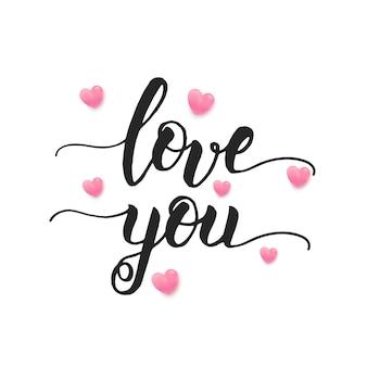 Walentynki z ręcznie robionym napisem i sercami 3d na białym tle.