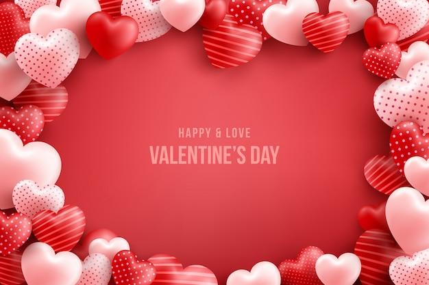 Walentynki z wieloma słodkimi sercami i na czerwono. szablon promocji i zakupów lub na miłość i walentynki