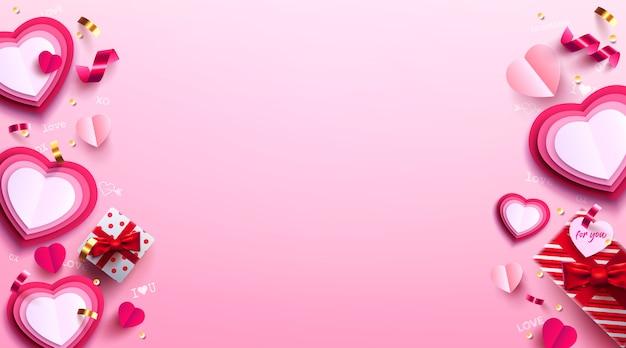 Walentynki ze słodkim prezentem, słodkim sercem i uroczymi przedmiotami