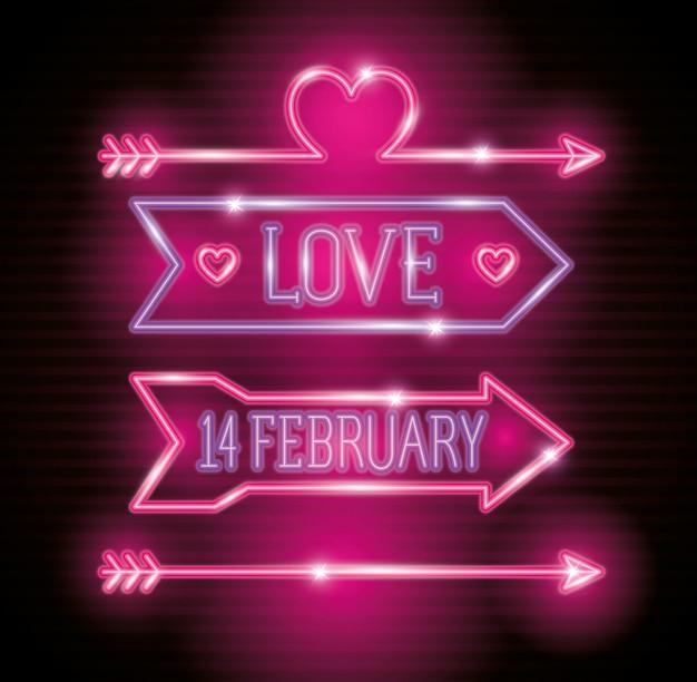 Walentynki ze strzałkami i dekoracji neonów