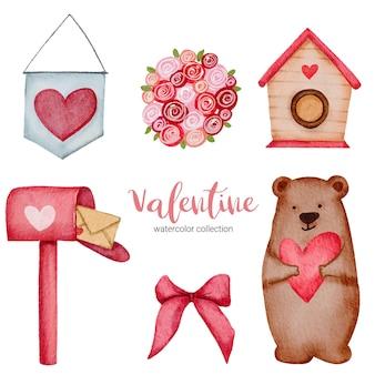 Walentynki zestaw elementów róż, wstążki, serca, skrzynki pocztowej i nie tylko.