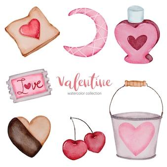Walentynki zestaw elementów wiśni, wiadra, słodyczy i nie tylko.