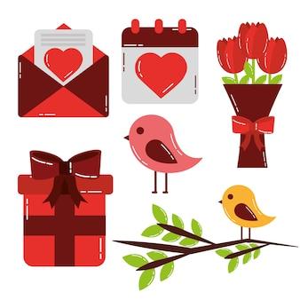 Walentynki zestaw ikon słodkie miłości