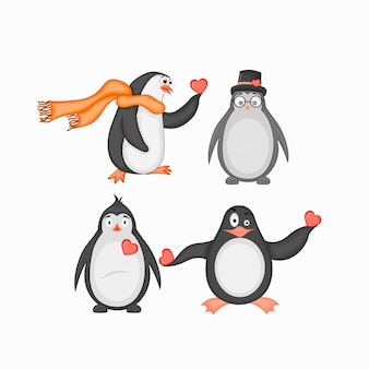 Walentynki zestaw uroczych pingwinów.