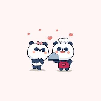 Walentynki zestaw z uroczą pandą z miękkim sercem, z życzeniami love you