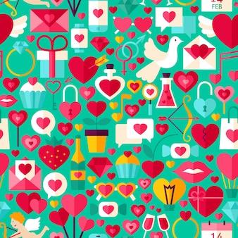 Walentynki zielony wzór. płaska konstrukcja tło wektor płytki. miłość wakacje.