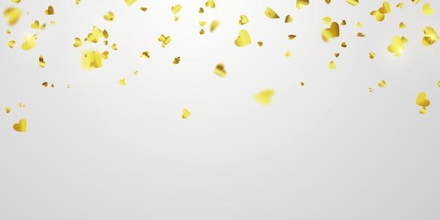 Walentynki, złote wstążki konfetti serca.