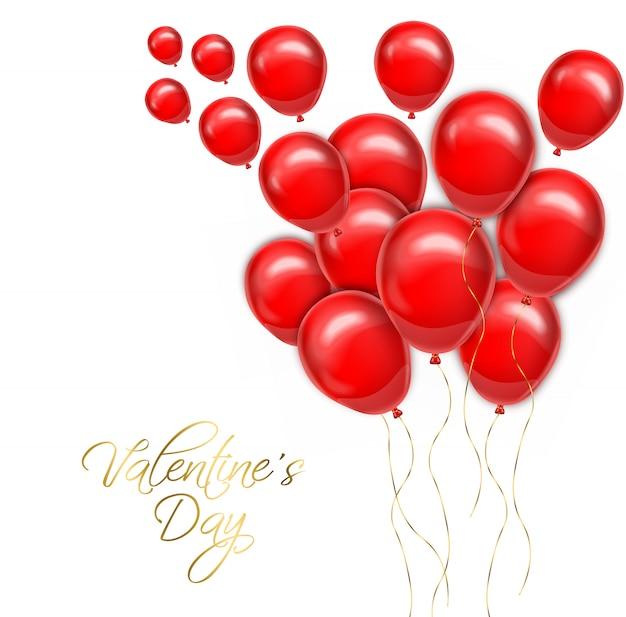 Walentynki złoty tekst z czerwonymi balonami
