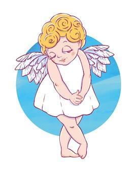 Walentynki. zmieszany cupid-girl z kołem akwarela