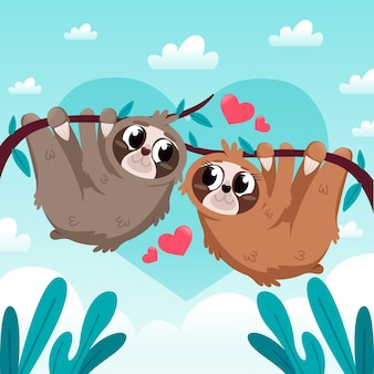 Walentynki zwierząt para płaska konstrukcja stylu