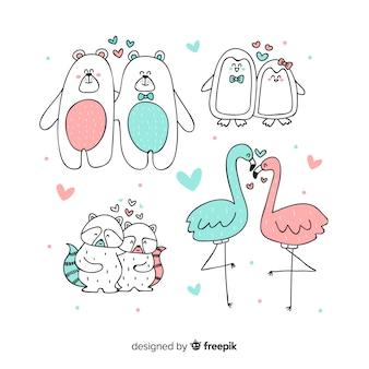 Walentynki zwierząt pary