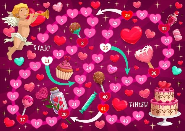 Walentynkowa gra labirynt dla dzieci z kupidynem i świątecznymi słodyczami