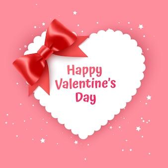 Walentynkowa karta podarunkowa wakacje miłość kształt serca ilustracja z realistyczną czerwoną kokardą