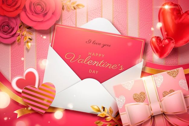 Walentynkowa karta w kopercie z papierowymi kwiatami i pudełkiem na prezent w 3d ilustracji