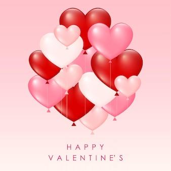 Walentynkowa karta z balonami w kształcie serca