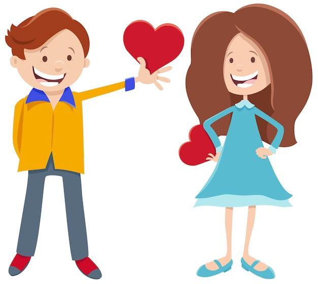 Walentynkowa karta z postaciami dziewczyny i chłopca