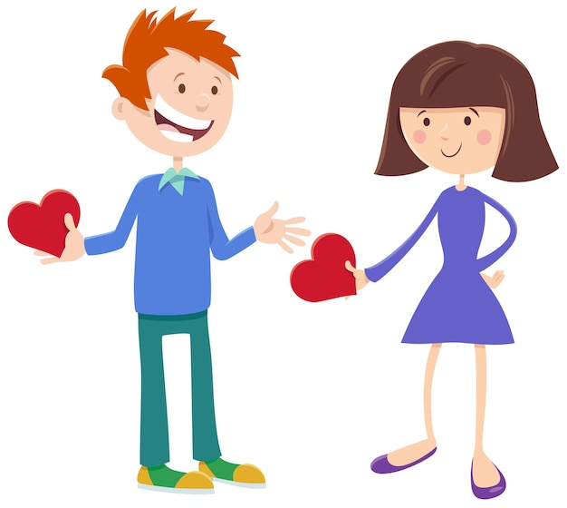 Walentynkowa karta z uroczymi postaciami dziewczyny i chłopca