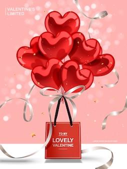Walentynkowa kartka okolicznościowa, czerwone balony w kształcie serca i srebrne wstążki z czerwoną papierową torbą