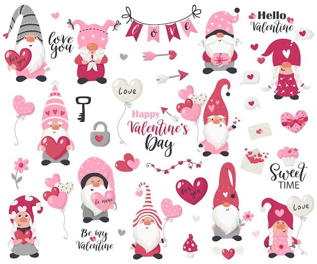 Walentynkowa kolekcja przedmiotów i krasnali. ilustracja na kartki, zaproszenia świąteczne i t-shirty