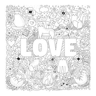 Walentynkowa kolorowanka z uroczymi kotami, kwiatami, słodyczami i zabawkami. ręcznie rysowane gryzmoły.