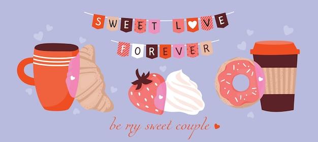 Walentynkowa kompozycja z truskawkami, śmietaną, kawą, rogalikiem, pączkiem. wektor, pozdrowienie słodka miłość na zawsze.