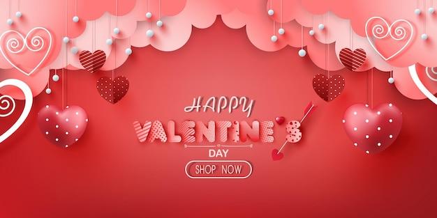 Walentynkowa wyprzedaż z plakatu lub banera z wieloma słodkimi serduszkami i na czerwono.