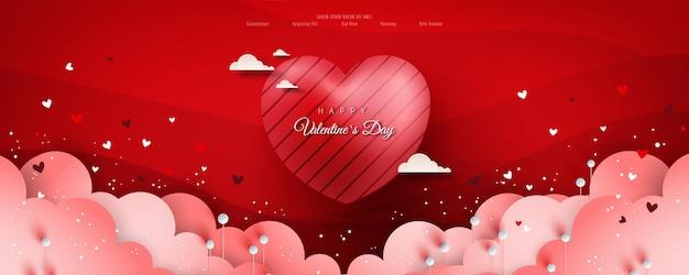 Walentynkowa Wyprzedaż Z Plakatu Lub Banera Z Wieloma Słodkimi Serduszkami I Na Czerwono. Premium Wektorów