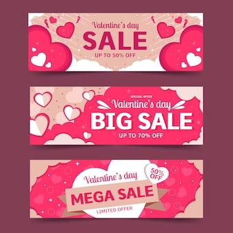 Walentynkowe banery sprzedaży z ofertą