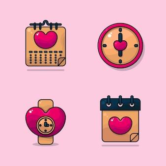 Walentynkowe kalendarze zegar ścienny i zegarek