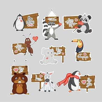 Walentynkowe naklejki z uroczymi zwierzętami.