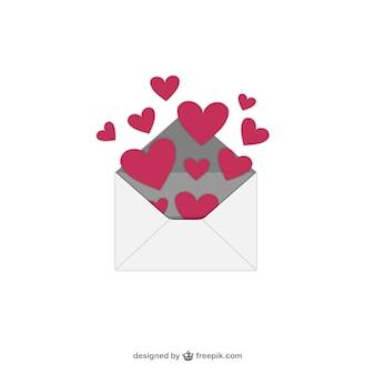 Walentynkowe serca dzień z koperty
