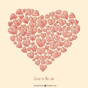 Walentynkowe serca rysunek
