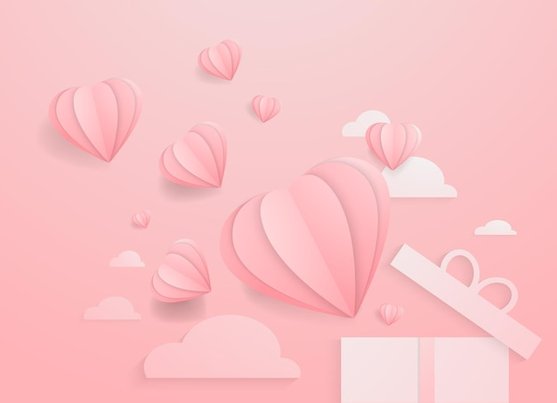 Walentynkowe serca z pudełkiem na prezenty papier pocztówkowy latające elementy na różowym tle symbole wektorowe ...