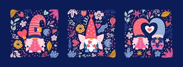 Walentynkowe słodkie gnomy zestaw kart i plakatów. karłowaci chłopcy i dziewczęta na pocztówce.