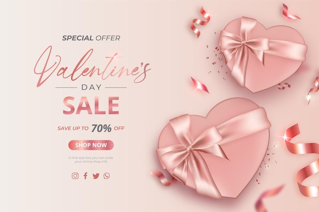 Walentynkowy baner promocyjny z realistycznymi prezentami