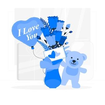 Walentynkowy bukiet z ilustracją koncepcji karty